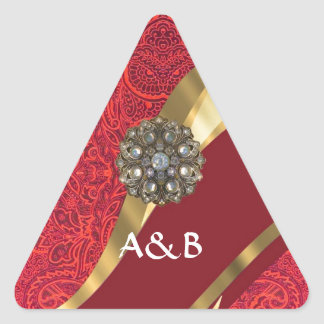 Red damask & gold swirl triangle sticker