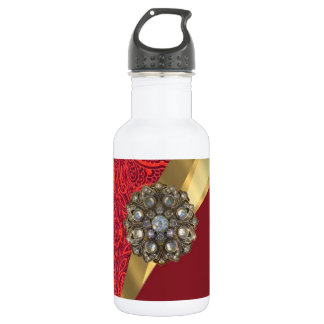 Red damask & gold swirl water bottle