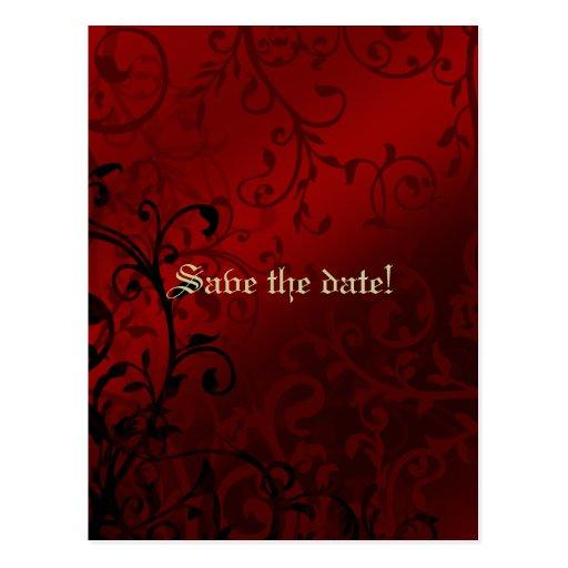 Red Damask Gothic Bridal Shower Invitation Postcard