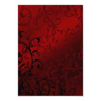 Red Damask Gothic Wedding Card
