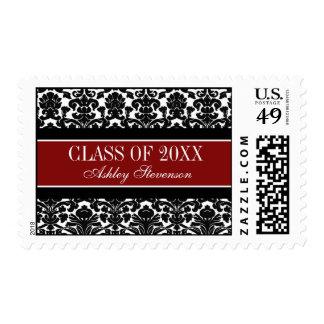 Red Damask Graduation Custom Name Stamps