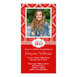 Red Damask Graduation Invitation Class of 2012