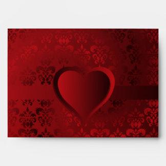 Red damask heart envelope