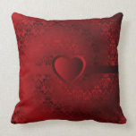 Red damask heart pillow