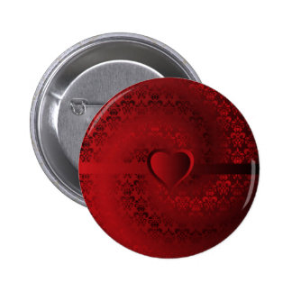 Red damask heart pinback button