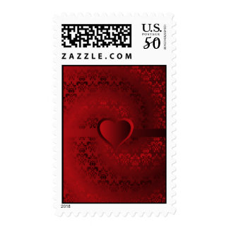 Red damask heart postage