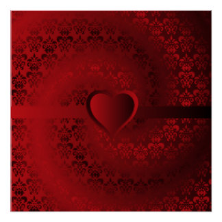 Red damask heart poster