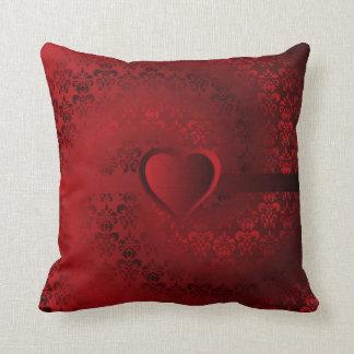 Red damask heart throw pillow