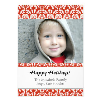 Red Damask Holiday Photo Card