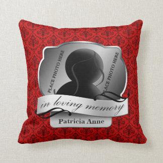 "Red Damask ""In Loving Memory"" In Memoriam Throw Pillows"