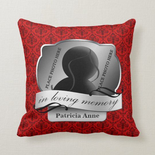 Red Damask In Loving Memory Memoriam Throw Pillow