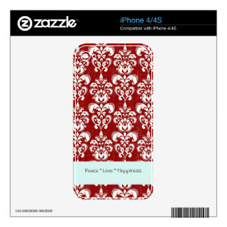 Red Damask iPhone Cover iPhone 4 Decal