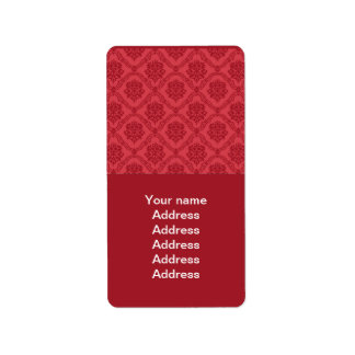 Red Damask Label
