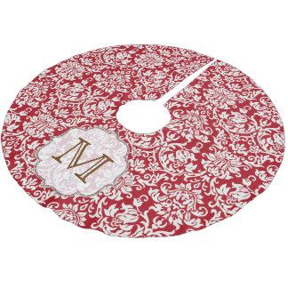 Red Damask Lace Print Monogram Initial Tree Skirt