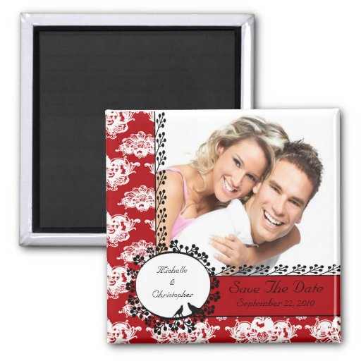 Red Damask Love Birds Photo Save The Date Magnet