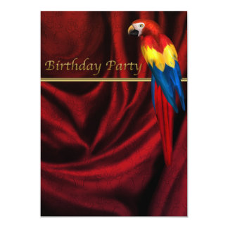 Red Damask Macaw Parrot Birthday Party Invitation