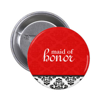 Red Damask Maid of Honor Button