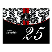 red damask monogram table numbers postcards