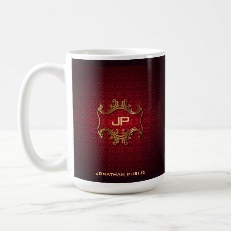 Red Damask Monogrammed Template Classic Elegant Coffee Mug