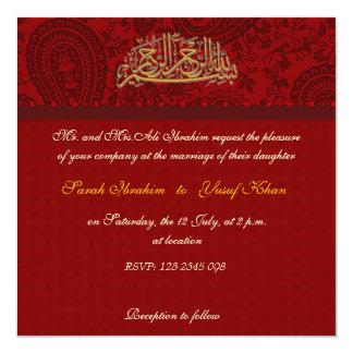 Red Damask Muslim wedding Card