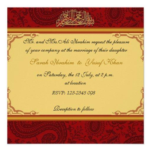 Red Damask Muslim Wedding 13 Cm X 13 Cm Square Invitation Card Zazzle