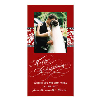 Red Damask Newly Weds First Christmas Photo Card
