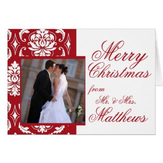 Red Damask Newlywed Photo First Christmas Cards