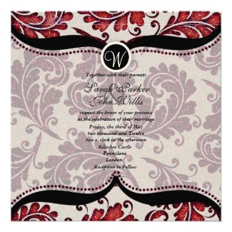 Red Damask Paisley Wedding Invite