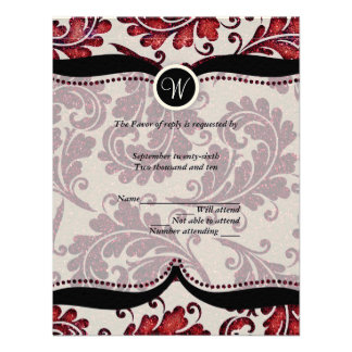 Red Damask Paisley Wedding RSVP Custom Invites