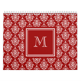 Red Damask Pattern 1 with Monogram Calendars