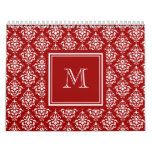 Red Damask Pattern 1 with Monogram Calendar