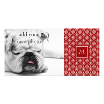 Red Damask Pattern 1 with Monogram Card