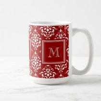 Red Damask Pattern 1 with Monogram Coffee Mug