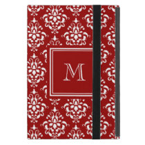 Red Damask Pattern 1 with Monogram Cover For iPad Mini