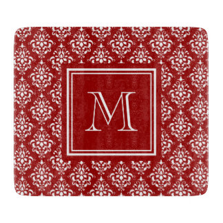 Red Damask Pattern 1 with Monogram Cutting Boards