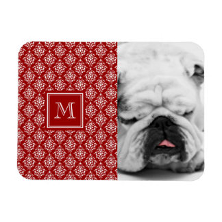 Red Damask Pattern 1 with Monogram Flexible Magnet