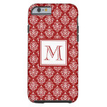 Red Damask Pattern 1 with Monogram iPhone 6 Case