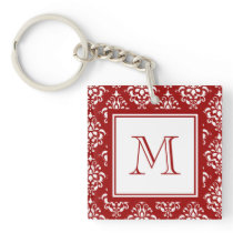 Red Damask Pattern 1 with Monogram Keychain