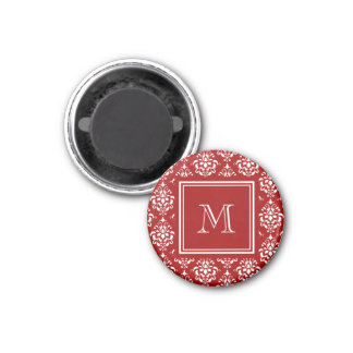 Red Damask Pattern 1 with Monogram Magnet