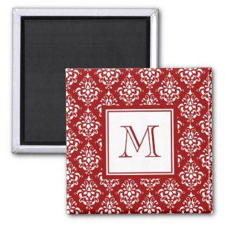 Red Damask Pattern 1 with Monogram Refrigerator Magnets