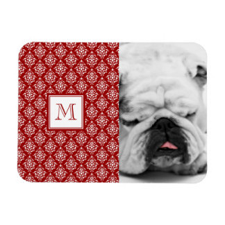 Red Damask Pattern 1 with Monogram Magnets