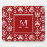 Red Damask Pattern 1 with Monogram Mousepads