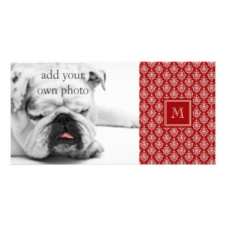 Red Damask Pattern 1 with Monogram Photo Card