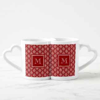 Red Damask Pattern 1 with Monogram Couple Mugs