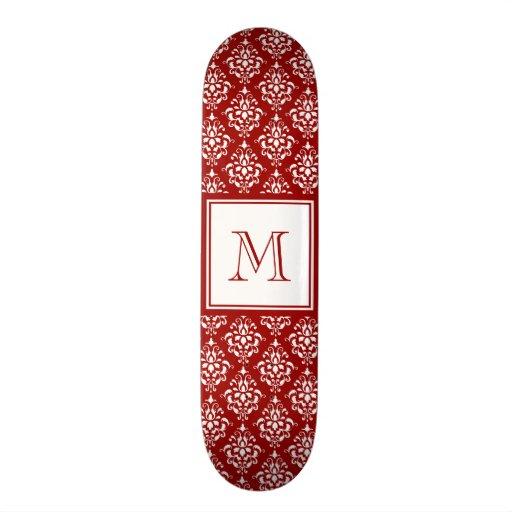 Red Damask Pattern 1 with Monogram Skateboard Deck