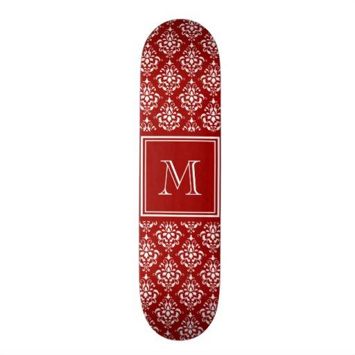 Red Damask Pattern 1 with Monogram Skate Deck