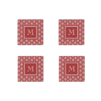 Red Damask Pattern 1 with Monogram Stone Magnet