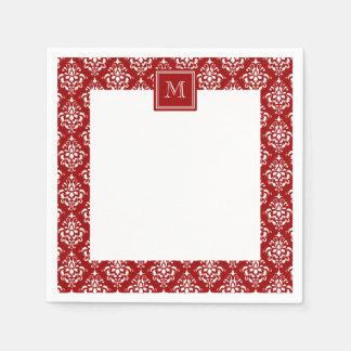 Red Damask Pattern 1 with Monogram Paper Napkin