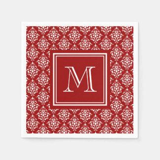 Red Damask Pattern 1 with Monogram Disposable Napkin