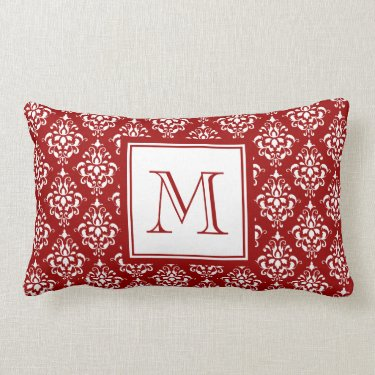 Red Damask Pattern 1 with Monogram Throw Pillow